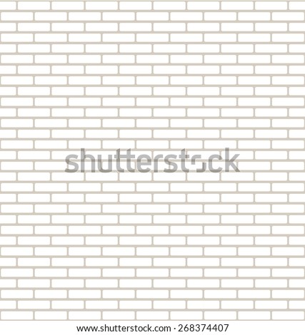 Brick Wall Texture with Small Bricks in White and Light Brown - stock vector