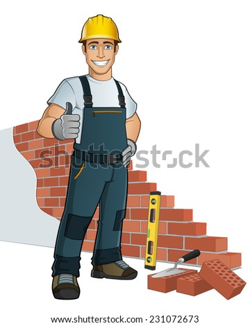 Bricklayer building wall - stock vector