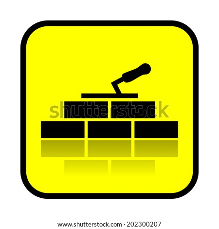 Bricklaying, construction sign, vector - stock vector