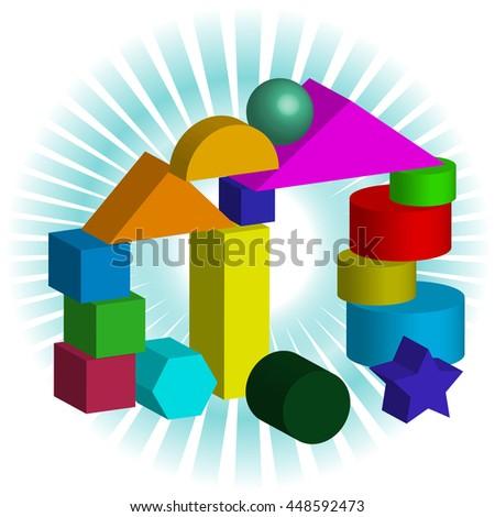 Bricks for children - stock vector