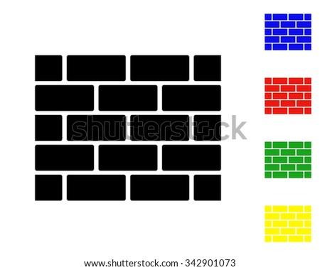 Bricks wall icon - vector colored set - stock vector
