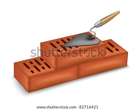bricks with a trowel. vector - stock vector