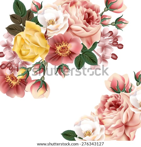 Bridal background with beautiful roses - stock vector