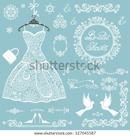 Bridal shower decor elements set,Winter invitation cards template.Openwork Snowflakes ornament,wedding  white lace dress.Christmas,New Year party.Swirling frames,borders.Fashion vector Illustration. - stock vector