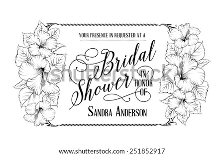 Bridal shower invitation card with hibiscus flowers. Horizontal vector illustration. - stock vector
