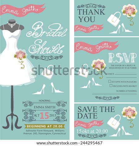 Bridal shower invitation set.Bridal wedding dress with bridal accessories, hand writing text,pink ribbon,swirling border.Dress on mannequin.Wedding invitation, cards,RSVP.Vector - stock vector