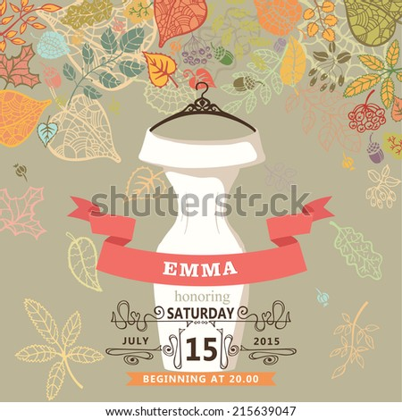 Bridal shower invitation with autumn leaves and wedding bridal dress,  swirling border    ,ribbon.Dress is hanger to hang.Vector design template - stock vector