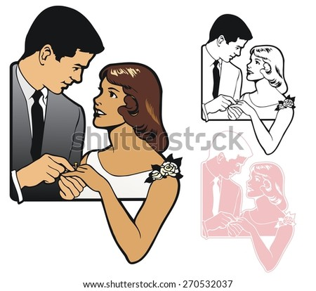 Bride and Groom, for a June Wedding - stock vector