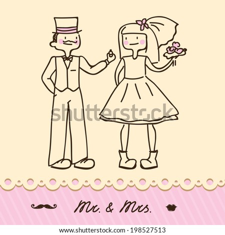 bride and groom for greeting card or wedding - stock vector
