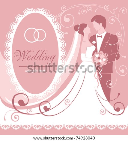 Bride and groom. Gentle wedding background. Vector. - stock vector