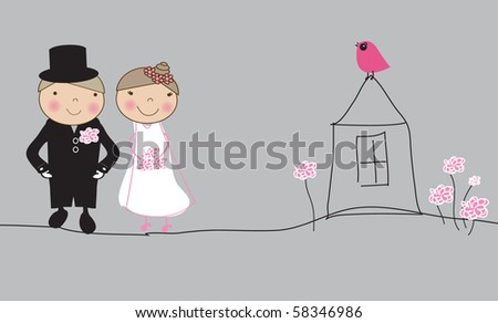 Bride and groom on the life road. Wedding concept - stock vector