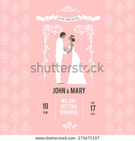 Bride and groom on wedding invitation. Place for text - stock vector