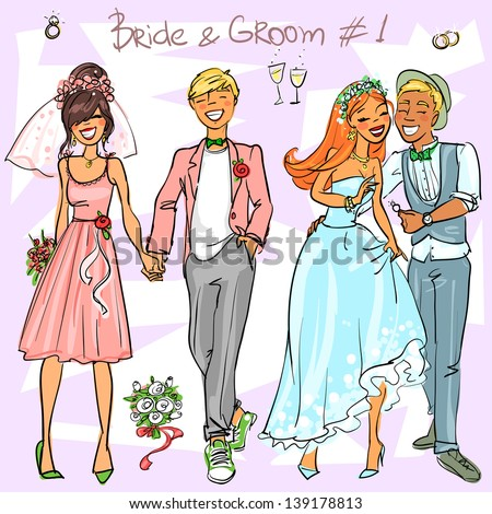 Bride and Groom set 1, Hand drawn Wedding Couples - stock vector