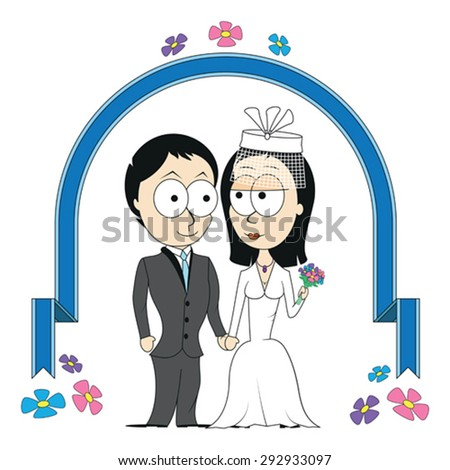 Bride and groom under wedding arch - stock vector