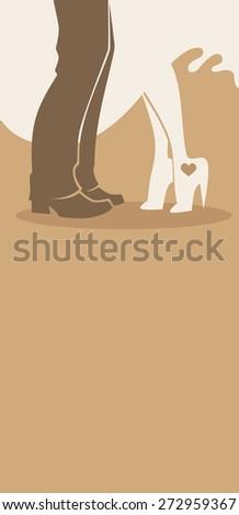 bride and groom, wedding card in elegant style - stock vector