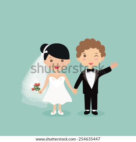 Bride and groom Wedding Party vector illustration. - stock vector