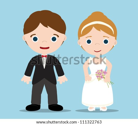 bride and groom with blue background - stock vector