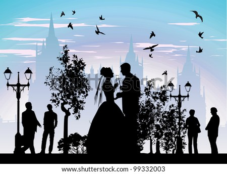 Bride groom drinking champagne in the streets of the beautiful city - stock vector