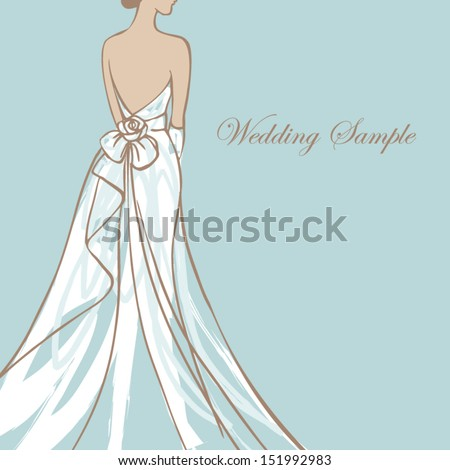 Bride in beautiful wedding dress vector illustration - stock vector