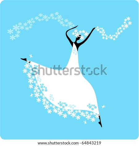 Bride in wedding dress white with bouquet. Dancing - stock vector