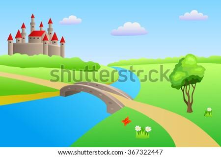 Bridge river summer landscape day castle illustration vector - stock vector