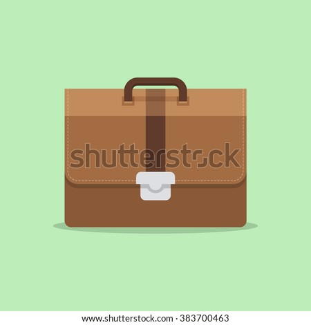 Briefcase business vector illustration in flat style. Briefcase with lock icon isolated on colored background. Briefcase male brown. - stock vector