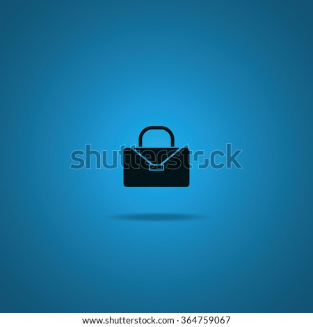 Briefcase flat icon. Bag illustration. - stock vector