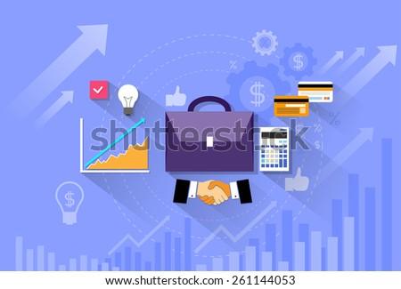 briefcase handshake financial chart flat vector illustration - stock vector