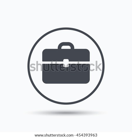 Briefcase icon. Diplomat handbag symbol. Business case sign. Circle button with flat web icon on white background. Vector - stock vector