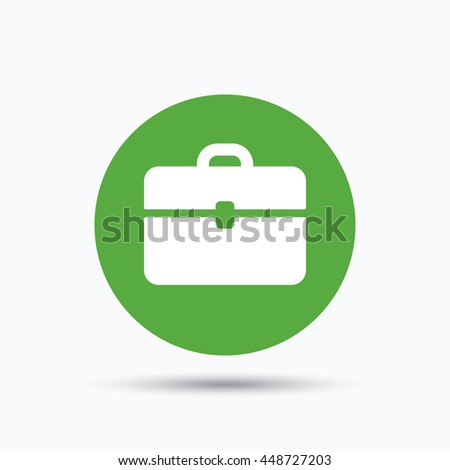 Briefcase icon. Diplomat handbag symbol. Business case sign. Flat web button with icon on white background. Green round pressbutton with shadow. Vector - stock vector