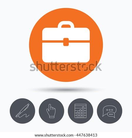Briefcase icon. Diplomat handbag symbol. Business case sign. Speech bubbles. Pen, hand click and chart. Orange circle button with icon. Vector - stock vector