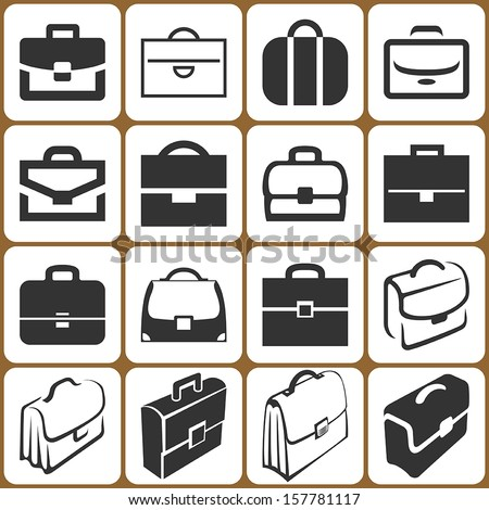 briefcase icons set - stock vector