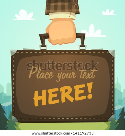 Briefcase in a hand, business illustration - stock vector