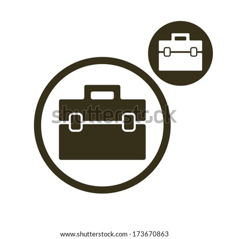 Briefcase vector simple single color icon isolated on white background, includes invert version for you to choose. - stock vector