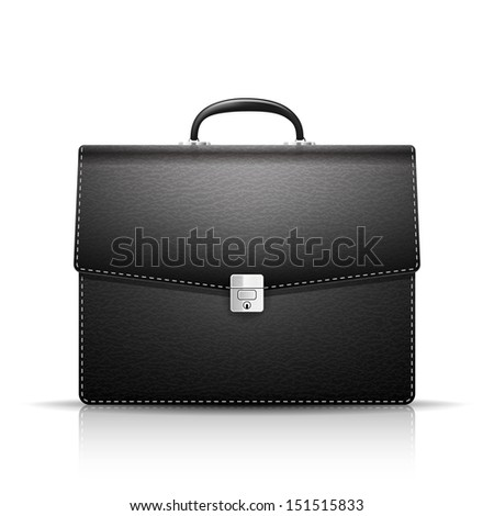 Briefcase with leather texture - stock vector