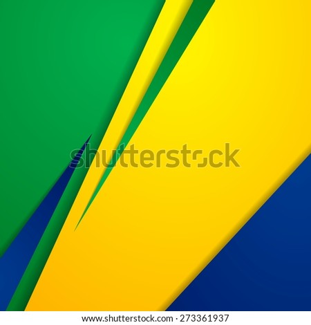 Bright abstract background in Brazilian colors. Vector design - stock vector
