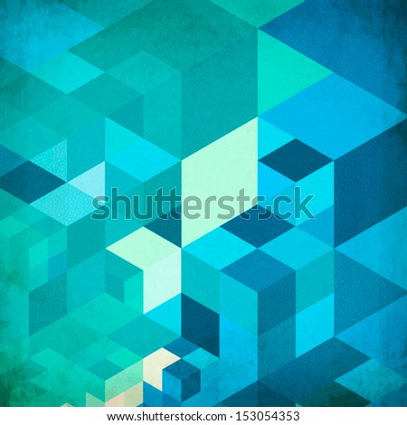 Bright abstract cubes grid blue vector background - stock vector