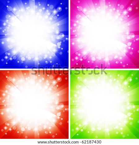 bright abstract explosion over multicolored copyspace - stock vector