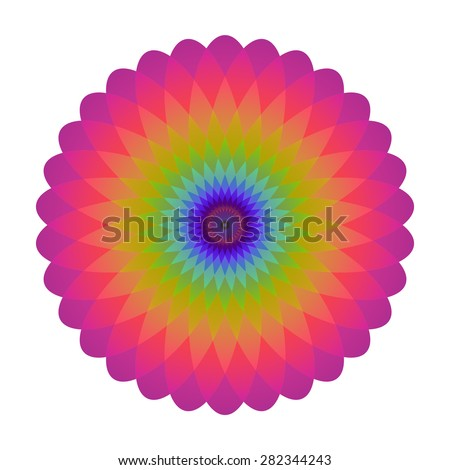 Bright abstract mosaic circle. Logo rainbow mandala. Vector illustration. - stock vector
