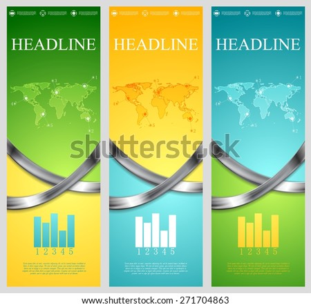 Bright abstract tech vertical banners with metal waves. Vector template - stock vector