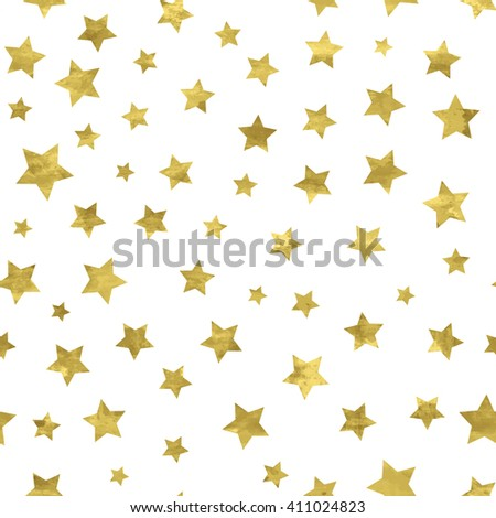 Bright abstract  white  modern seamless pattern with golden stars. Vector illustration for wrapping, website, invitation or other design.Shiny gold background. Texture of gold foil.  Festive banner. - stock vector