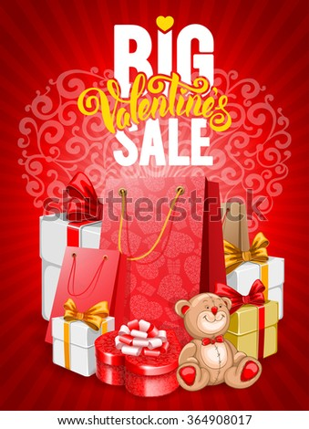 Bright advertising poster Big Valentines sale on red background with festive decorated gift boxes and shopping bags. Vector illustration. - stock vector