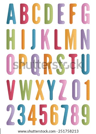 bright alphabet letters and numbers in half tone style, isolated on white - stock vector
