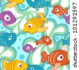 Bright and colorful  seamless pattern with cartoon colorful style fishes in the sea.  Seamless pattern can be used for wallpaper, pattern fills, web page background, surface textures. - stock vector