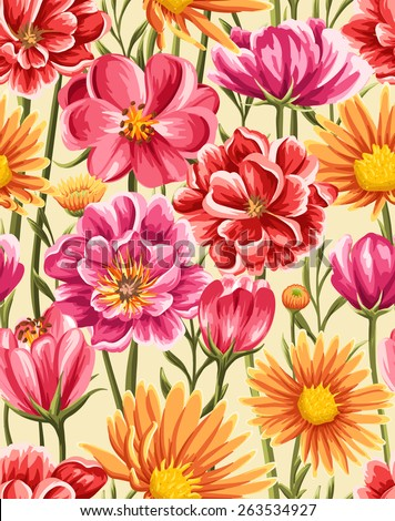 Bright and colorful seamless pattern with different flowers in watercolor style - stock vector