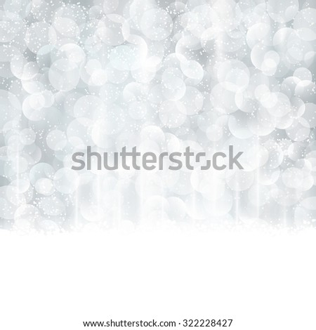 Bright and festive silver background with snow fall and bokeh lights. Beautiful template for Christmas and winter cards. - stock vector