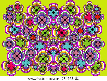 bright and joyful background of colorful flowers - stock vector