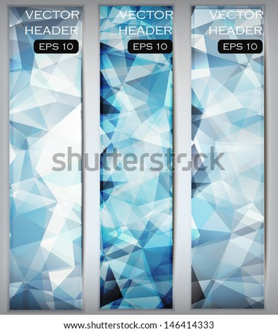 Bright and modern website header or banner set. Vector creative template. Low-poly triangles design for your advertising.  - stock vector