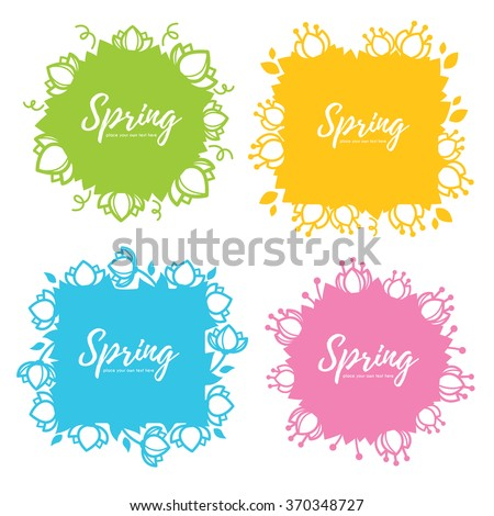 bright and simple floral spring frames and template, line art - stock vector