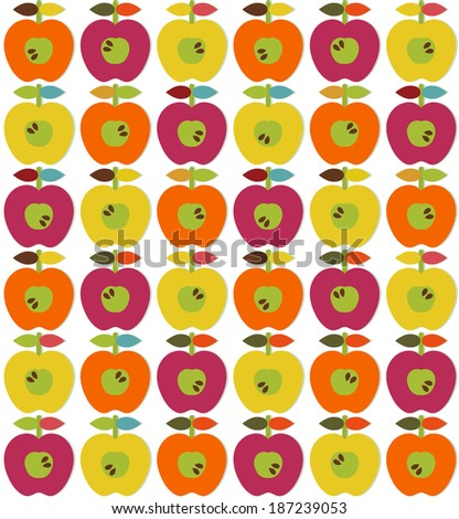 Bright apples ornament in scandinavian style. Seamless - stock vector